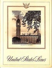 United States Lines Houses of Parliament December 25 1968 Vintage Menu