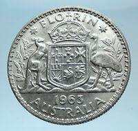 1963 AUSTRALIA - UK Queen Elizabeth II SILVER FLORIN Coat-of-Arms Coin i78106
