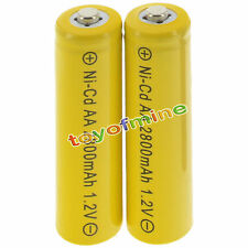 2 AA Yellow Rechargeable Batteries NiCd 2800mAh 1.2v Garden Solar Light Lamp