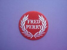 MOD SCOOTER SKA SOUL SEW ON & IRON ON PATCH:- FRED PERRY (a) RED & WHITE DISC