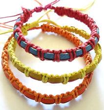 Lot de 3 Bracelet Brésilien Amitié Bonheur Cuir Friendship orange jaune rose