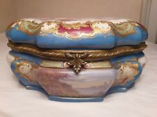 Sevres Blue and Ormolu Porcelain Jewelry Casket(Signed)