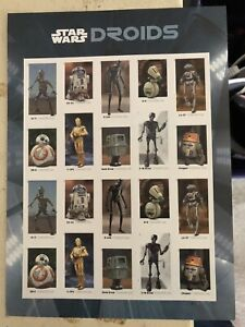 2021 Star Wars Droid FULL Sheet 20 USPS Postage Stamps  May 4. First Day Of Sale
