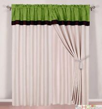 Luxury Lime Green Beige Brown Panels Valance Curtain Micro Suede Set Drapes