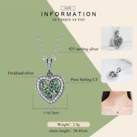 Tree of Life Family Necklace CZ Stones 925 Sterling Silver 18 inch Chain