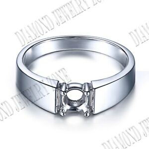 5-6mm Sterling Silver Prong Set Round Solitaire Prong Setting Simple Style Ring