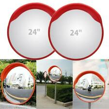 """2pcs 24"""" Outdoor Wide Angle Security Convex PC Mirror Road Traffic Driveway Safe"""