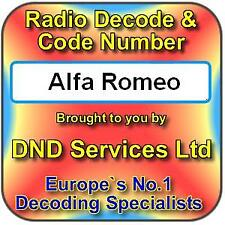 Alfa Romeo Radio Code Decode Unlock Service 156 HIGH CD GTA RNS4 Nav Travelpilot