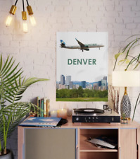 "Frontier Airlines A321 over Denver Art - 18"" x 24"" Poster"