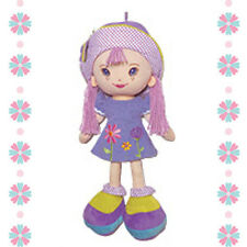 "18"" Fabric Cloth Rag Girl Doll Toy Purple Dress Hat w/ Yarn Hair Muñeca de Trapo"