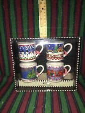 Mary Engelbreit Christmas Ornaments - 4 Mini Mugs/Cups New In Box