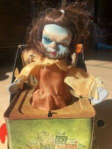Vintage ANIMATED GIRL FRANKENSTEIN MONSTER  JACK in the BOX HALLOWEEN PROP