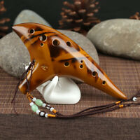 Professional 12 Hole Alto C Smoked Ceramic Ocarina Tenor Musical Collection HEA