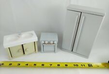 dollhouse miniature furniture, kitchen sink and appliance set. wood. made in USA