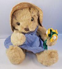 """Russ Blossom Teddy Bear Plush w/ Straw Hat & Flowers Sits 7"""""""
