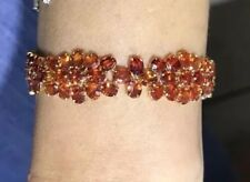 14k Solid Yellow Gold Bracelet Natural Marquise Orange Sapphire34.10CT18.75GM