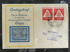1948 Leipzig East Germany First Day Cover Stamp # 10NB3 Stamp Day FDC