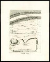 1785 Original Antique Print Plan - BURGH CASTLE, SUFFOLK GREAT YARMOUTH (T177)