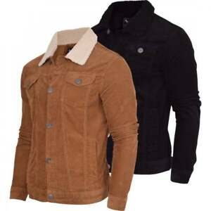 Mens Brave Soul Sherpa Borg Collar Corded Cord Trucker Jacket Coat Indie Mod