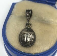 Vintage Sterling Silver Necklace 925 Pendant Scarab Beetle Egyptian Revival