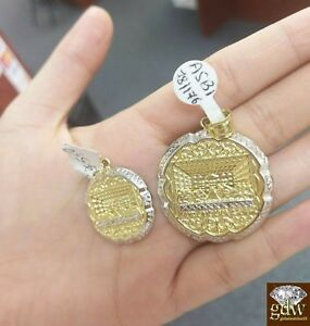 10k Gold Last Supper Pendant Yellow White Circular Jesus Charm Small Large REAL