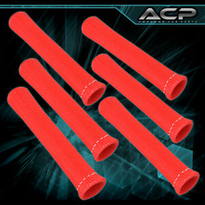 For Mazda 6-Piece High Temp Spark Plug Wire Boot Heat Shield Blanket Kit Red