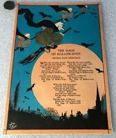 The Hags Of Halloween Colored Litho Print & Poem