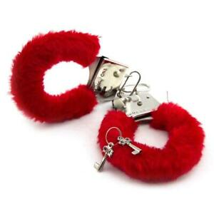Fluffy Furry Handcuffs Hen Fancy Dress Stag Night Girls Party Role Play Toy Red