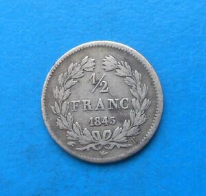 Louis-Philippe 1er , demi 1/2 franc argent , 1845 B Rouen