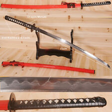 Folded Steel Katana Japanese Samurai Sword Damascus Clay Tempered Battle Ready