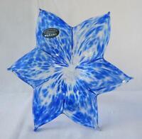 "8"" Italian Art Blown Glass Flower Murano Royal Blue Italy 380"