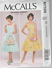 McCall's Sewing Pattern M7599 Misses 14-22 Lined Fit and Flare Dresses Petticoat