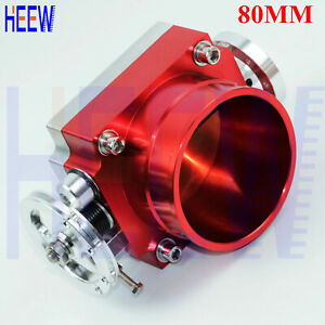 """80MM 3.15"""" FOR Universal Throttle Body High Flow Aluminum Intake Manifold RED N"""