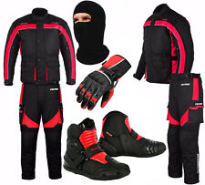 Waterproof Motorcycle Motorbike Suit Jacket Trouser Gloves Short Boots - Red
