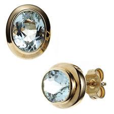 Ohrstecker oval 585 Gold Gelbgold 2 Aquamarine hellblau blau Ohrringe