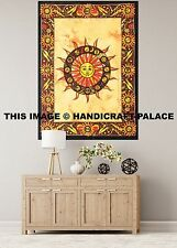 Ethnic Sun Tapestry Hippy Table Cloth Yellow Wall Hanging Decorative Indian Art