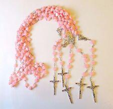 Wholesale Lot of 12 Beautiful Pink Heart Rosaries, Silver Tone Metal