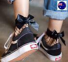 Lady Women Girl Retro Black Net Fishnet Bow Frilly Ruffle Mesh Short shoes Socks