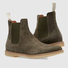 NEW COMMON PROJECTS OLIVE SUEDE CHELSEA ANKLE BOOTS HIGH TOP 1897 1010 SHOES