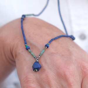 Halskette LapisLazuli Türkis blau fein Filigran Afghanische Edelstein Geschenk 5