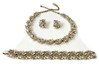 Signed VTG BSK Gold Tone White ENAMEL Necklace Bracelet Earrings Set PARURE