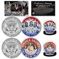 APOLLO 11 50th Anniv. Space Man on Moon JFK Half Dollar 2-Coin Set 1969 Button