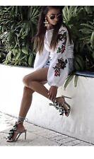 Zara Sky Blue/Green Ruffled High Heel Leather Sandals Size UK 4 BNWT