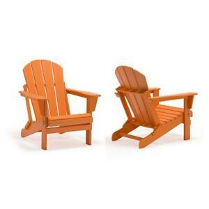 Outdoor Folding Adirondack Chair Plastic Armchair Waterproof Orange (2-Piece)