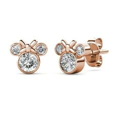 18K Rose Gold Plated Mouse Clear CZ Crystal Girl Children Teen Stud Earrings