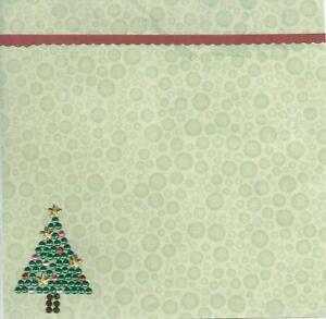 CHRISTMAS Tree Crystals Red Border 6 x 6 Premade Scrapbook Page Add Photo