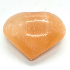 Selenite Orange Crystal Heart- Large- 75 mm - with Free Stand
