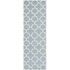 Hand-Tufted Moroccan Blue/Ivory Wool Rug 2' 3 x 9' Runner