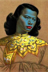 Tretchikoff green lady Canvas Print ,High quality Canvas