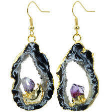 Irregular Natural Crystal Quartz Gold Plated Geode Druzy Dangle Earrings